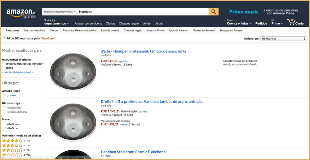 comprar un handpan en amazon