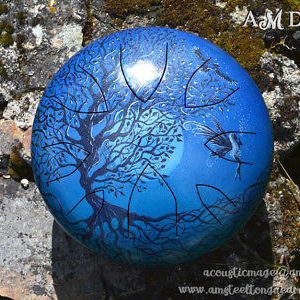 steel tongue drum handpan azul artesanal pintado a mano