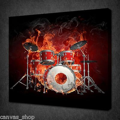 drums on fire abstract music design wall art picture canvas print ready to hang hangdrum shop. Black Bedroom Furniture Sets. Home Design Ideas