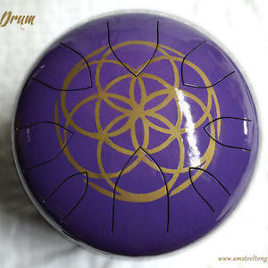 Steel tongue drum (AM Drum) CUSTOM MADE handpainted FLOWER OF LIFE hank handpan
