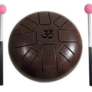 Tambor de acero para tambor de Aum con forma de tambor de tambor de 18 cm y escala pentatónica con mazo de goma y bolsa de viaje, perfecto para meditación, yoga, zen, curación de sonido