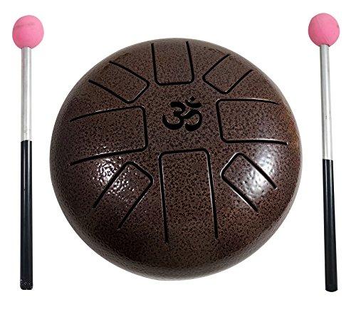 Steel Tongue Drum de Aum con forma de tambor de tambor de 18 cm y escala pentatónica con mazo de goma y bolsa de viaje, perfecto para meditación, yoga, zen, curación de sonido barato