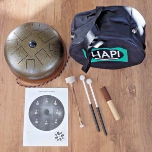 kit hapi steel tongue drum con bolsa, mazos y manual de uso