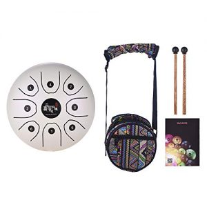 muslady mini tongue drum blanco con baquetas y funda