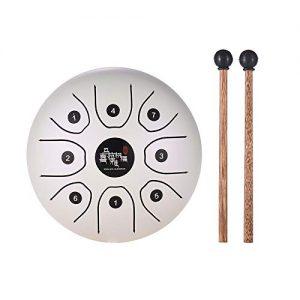 mini tongue drum blanco con baquetas