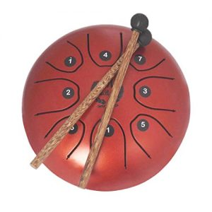 MMBAT Mini Steel Tongue Drum Rojo con mazos