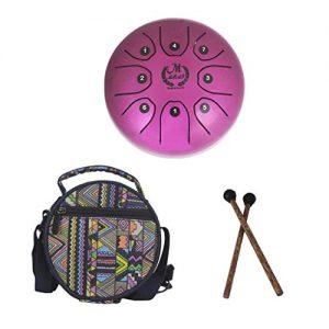 Mini Tambor de lengua de Acero Rosa con bolsa y mazos