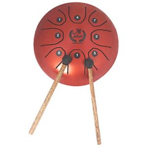 mini steel tongue drum barato rojo MMBAT con mazos