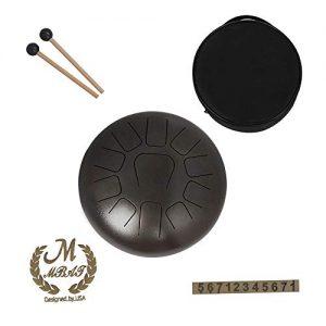Handpan portable marrón marca MMBAT con mazos y funda