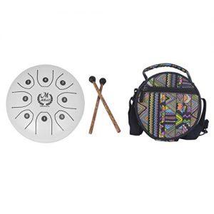 mini steel tongue drum blanco barato MMBAT con bolsa de tela y mazos
