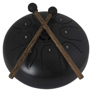 comprar mini steel tongue drum negro con mazos marca MMBAT