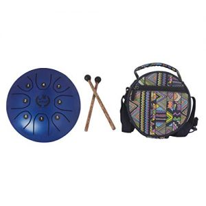 kit mini tongue drum azul MMBAT con mazos y funda de tela