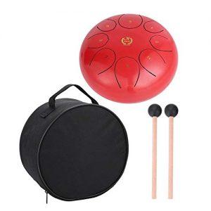 Steel Tongue Drum MMBAT Rojo con funda para hacer Yoga