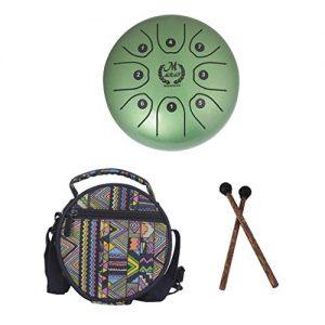 Steel Tongue Drum Verde + Bolsa + Mazos marca MMBAT B Blesiya