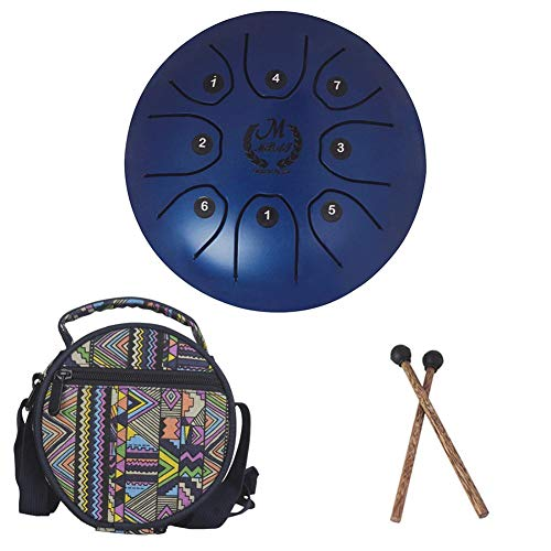 Kit Steel Tongue Drum Mini Bulgary MMBAT Azul + Bolsa de Tela + Mazos